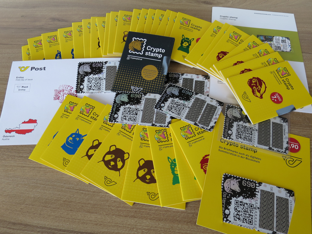 A bunch of physical Crypto stamps